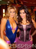 Carmen Electra and Kim Kardashian shows cleavages in lingerie on the set of Dissaster Movie - Hot Celebs Home