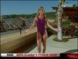 "DENISE AUSTIN wow ""Getting Fit"" --- * purple swimsuit workout *"